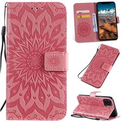 Embossing Sunflower Leather Wallet Case for iPhone 11 Pro Max (6.5 inch) - Pink