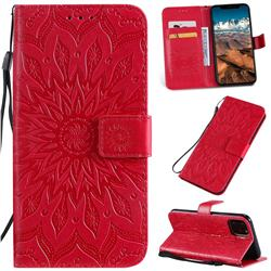 Embossing Sunflower Leather Wallet Case for iPhone 11 Pro Max (6.5 inch) - Red