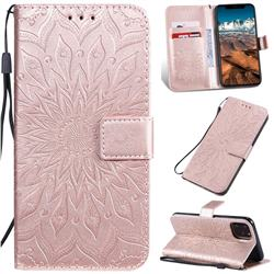 Embossing Sunflower Leather Wallet Case for iPhone 11 Pro Max (6.5 inch) - Rose Gold