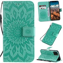 Embossing Sunflower Leather Wallet Case for iPhone 11 Pro Max (6.5 inch) - Green