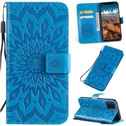 Embossing Sunflower Leather Wallet Case for iPhone 11 Pro Max (6.5 inch) - Blue