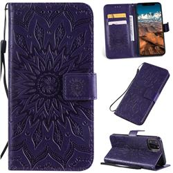 Embossing Sunflower Leather Wallet Case for iPhone 11 Pro Max (6.5 inch) - Purple