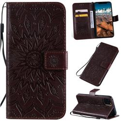 Embossing Sunflower Leather Wallet Case for iPhone 11 Pro Max (6.5 inch) - Brown