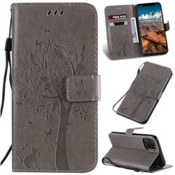 Embossing Butterfly Tree Leather Wallet Case for iPhone 11 Pro Max (6.5 inch) - Grey