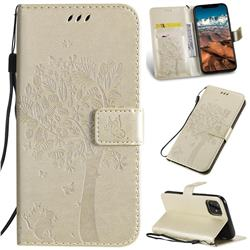 Embossing Butterfly Tree Leather Wallet Case for iPhone 11 Pro Max (6.5 inch) - Champagne