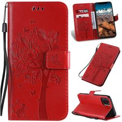 Embossing Butterfly Tree Leather Wallet Case for iPhone 11 Pro Max (6.5 inch) - Red