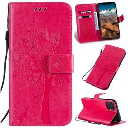 Embossing Butterfly Tree Leather Wallet Case for iPhone 11 Pro Max (6.5 inch) - Rose