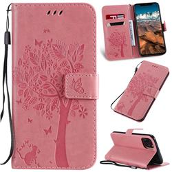 Embossing Butterfly Tree Leather Wallet Case for iPhone 11 Pro Max (6.5 inch) - Pink