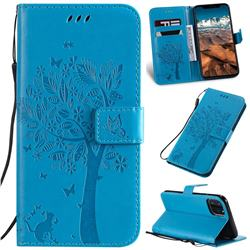 Embossing Butterfly Tree Leather Wallet Case for iPhone 11 Pro Max (6.5 inch) - Blue