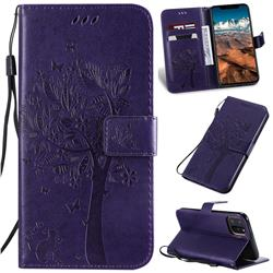 Embossing Butterfly Tree Leather Wallet Case for iPhone 11 Pro Max (6.5 inch) - Purple