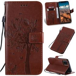 Embossing Butterfly Tree Leather Wallet Case for iPhone 11 Pro Max (6.5 inch) - Coffee