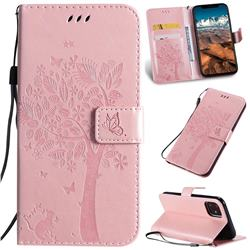 Embossing Butterfly Tree Leather Wallet Case for iPhone 11 Pro Max (6.5 inch) - Rose Pink