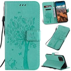 Embossing Butterfly Tree Leather Wallet Case for iPhone 11 Pro Max (6.5 inch) - Cyan