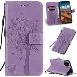 Embossing Butterfly Tree Leather Wallet Case for iPhone 11 Pro Max (6.5 inch) - Violet