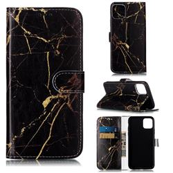 Black Gold Marble PU Leather Wallet Case for iPhone 11 Pro Max (6.5 inch)