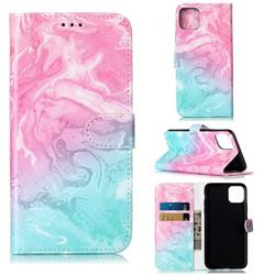 Pink Green Marble PU Leather Wallet Case for iPhone 11 Pro Max (6.5 inch)