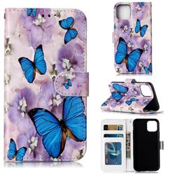 Purple Flowers Butterfly 3D Relief Oil PU Leather Wallet Case for iPhone 11 Pro Max (6.5 inch)