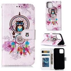 Wind Chimes Owl 3D Relief Oil PU Leather Wallet Case for iPhone 11 Pro Max (6.5 inch)