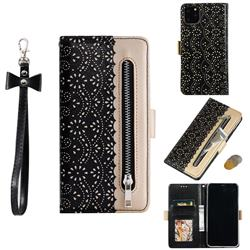 Luxury Lace Zipper Stitching Leather Phone Wallet Case for iPhone 11 Pro Max (6.5 inch) - Black