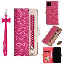Luxury Lace Zipper Stitching Leather Phone Wallet Case for iPhone 11 Pro Max (6.5 inch) - Rose
