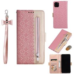 Luxury Lace Zipper Stitching Leather Phone Wallet Case for iPhone 11 Pro Max (6.5 inch) - Pink