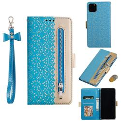 Luxury Lace Zipper Stitching Leather Phone Wallet Case for iPhone 11 Pro Max (6.5 inch) - Blue