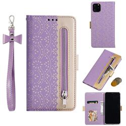 Luxury Lace Zipper Stitching Leather Phone Wallet Case for iPhone 11 Pro Max (6.5 inch) - Purple