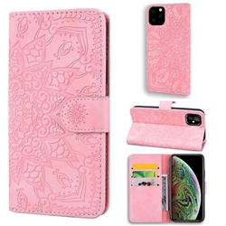 Retro Embossing Mandala Flower Leather Wallet Case for iPhone 11 Pro Max (6.5 inch) - Pink