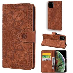 Retro Embossing Mandala Flower Leather Wallet Case for iPhone 11 Pro Max (6.5 inch) - Brown