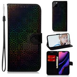 Laser Circle Shining Leather Wallet Phone Case for iPhone 11 Pro Max (6.5 inch) - Black