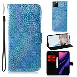 Laser Circle Shining Leather Wallet Phone Case for iPhone 11 Pro Max (6.5 inch) - Blue