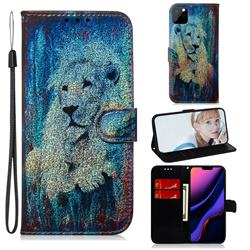 White Lion Laser Shining Leather Wallet Phone Case for iPhone 11 Pro Max (6.5 inch)