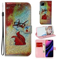 Glasses Fox Laser Shining Leather Wallet Phone Case for iPhone 11 Pro Max (6.5 inch)