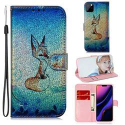 Cute Fox Laser Shining Leather Wallet Phone Case for iPhone 11 Pro Max (6.5 inch)