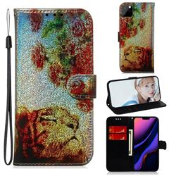 Tiger Rose Laser Shining Leather Wallet Phone Case for iPhone 11 Pro Max (6.5 inch)