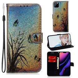 Butterfly Orchid Laser Shining Leather Wallet Phone Case for iPhone 11 Pro Max (6.5 inch)
