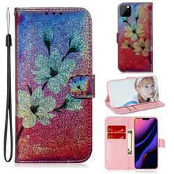 Magnolia Laser Shining Leather Wallet Phone Case for iPhone 11 Pro Max (6.5 inch)
