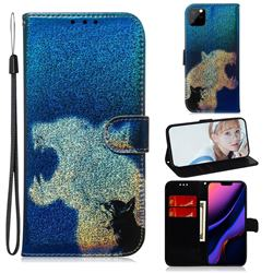Cat and Leopard Laser Shining Leather Wallet Phone Case for iPhone 11 Pro Max (6.5 inch)