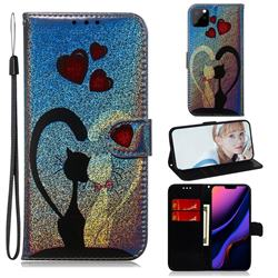 Love Cat Laser Shining Leather Wallet Phone Case for iPhone 11 Pro Max (6.5 inch)