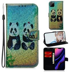 Two Pandas Laser Shining Leather Wallet Phone Case for iPhone 11 Pro Max (6.5 inch)