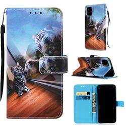 Mirror Cat Matte Leather Wallet Phone Case for iPhone 11 Pro Max (6.5 inch)