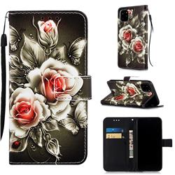 Black Rose Matte Leather Wallet Phone Case for iPhone 11 Pro Max (6.5 inch)