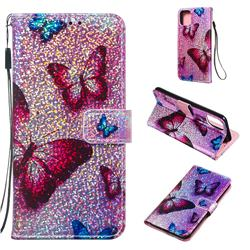 Blue Butterfly Sequins Painted Leather Wallet Case for iPhone 11 Pro Max (6.5 inch)