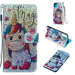 Star Unicorn Sequins Painted Leather Wallet Case for iPhone 11 Pro Max (6.5 inch)
