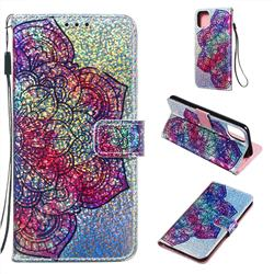Glutinous Flower Sequins Painted Leather Wallet Case for iPhone 11 Pro Max (6.5 inch)