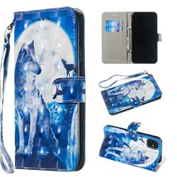 Ice Wolf 3D Painted Leather Wallet Phone Case for iPhone 11 Pro Max (6.5 inch)