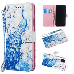 Blue Peacock 3D Painted Leather Wallet Phone Case for iPhone 11 Pro Max (6.5 inch)