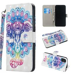 Colorful Elephant 3D Painted Leather Wallet Phone Case for iPhone 11 Pro Max (6.5 inch)