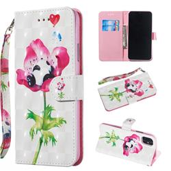 Flower Panda 3D Painted Leather Wallet Phone Case for iPhone 11 Pro Max (6.5 inch)