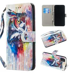 Watercolor Owl 3D Painted Leather Wallet Phone Case for iPhone 11 Pro Max (6.5 inch)